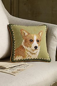 Welsh Corgi Needlepoint Pillow