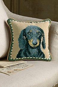 Black Dachshund Needlepoint Pillow