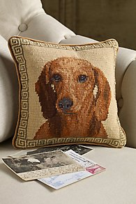 Red Dachshund Needlepoint Pillow